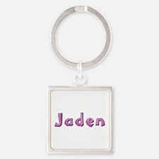 Jaden Pink Giraffe Square Keychain