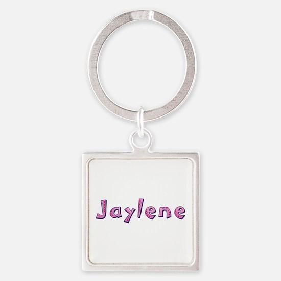 Jaylene Pink Giraffe Square Keychain