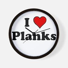 I Heart Planks Wall Clock