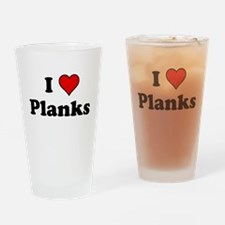 I Heart Planks Drinking Glass