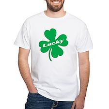 Lucky Four Leaf Clover White Shirt