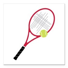 "Tennis Racket Square Car Magnet 3"" x 3"""