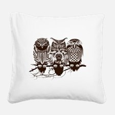 Three Owls Square Canvas Pillow