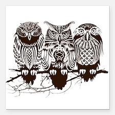 "Three Owls Square Car Magnet 3"" x 3"""