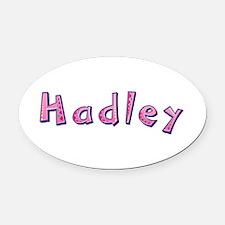 Hadley Pink Giraffe Oval Car Magnet