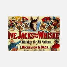 Poker Cards Vintage Whiskey Label Rectangle Magnet