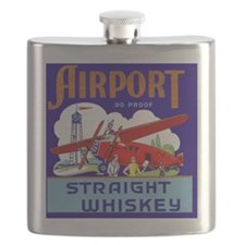 Airport Airplane Pilot Vintage Whiskey Label Flask