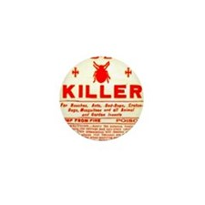 Bed Bug Killer Odd Vintage Label Mini Button