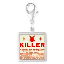 Bed Bug Killer Odd Vintage La Silver Square Charm