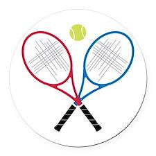 Tennis Rackets Round Car Magnet