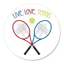 Live, Love, Tennis Round Car Magnet