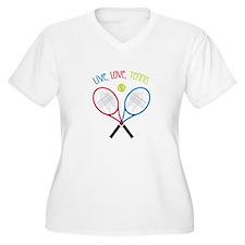 Live, Love, Tennis Plus Size T-Shirt