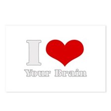 I love (heart) your brain  Postcards (Package of 8