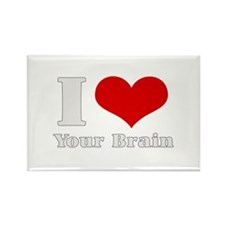 I love (heart) your brain Rectangle Magnet