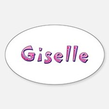 Giselle Pink Giraffe Oval Decal