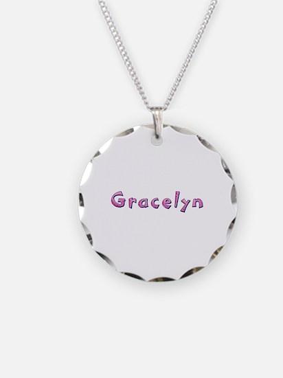 Gracelyn Pink Giraffe Necklace Circle Charm