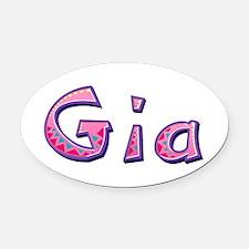 Gia Pink Giraffe Oval Car Magnet