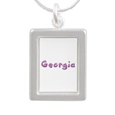 Georgia Pink Giraffe Silver Portrait Necklace