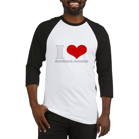 i love (heart) southern accen Baseball Jersey