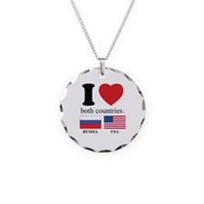 RUSSIA-USA Necklace Circle Charm