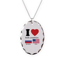 RUSSIA-USA Necklace Oval Charm
