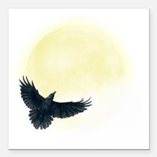 "Raven Moon Square Car Magnet 3"" x 3"""