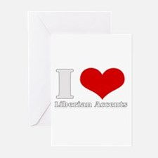 i love (heart) liberian accen Greeting Cards (Pack