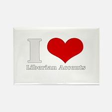 i love (heart) liberian accen Rectangle Magnet