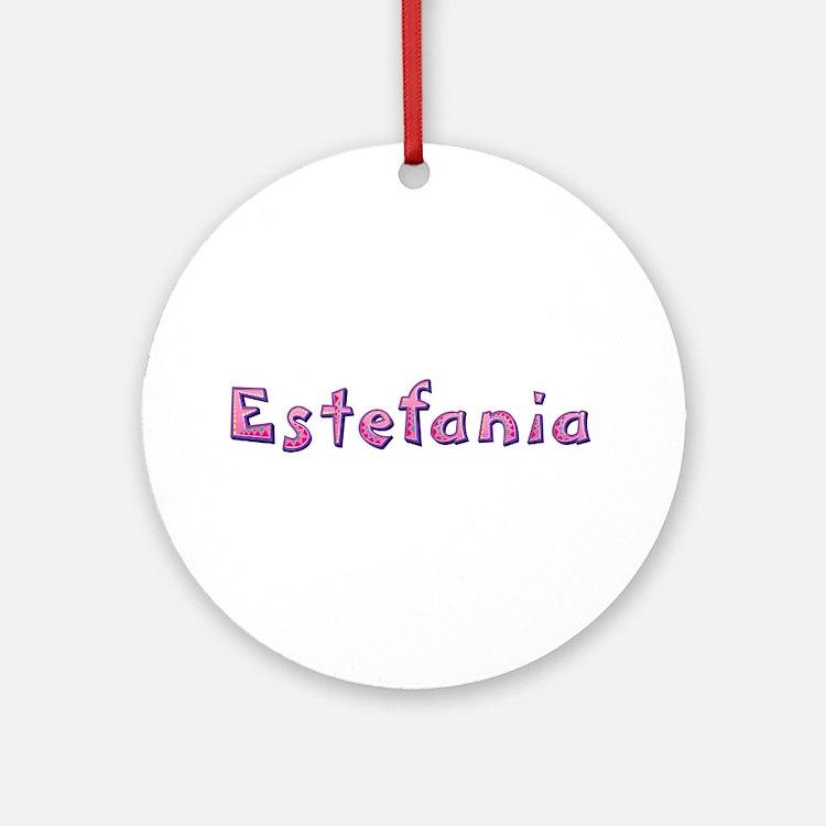 Estefania Pink Giraffe Round Ornament