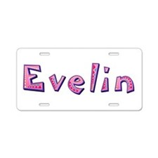 Evelin Pink Giraffe Aluminum License Plate