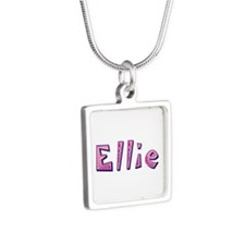 Ellie Pink Giraffe Silver Square Necklace