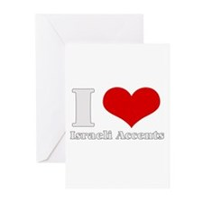 i love (heart) israeli accent Greeting Cards (Pack
