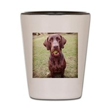 Chocolate Lab  With Ball Shot Glass