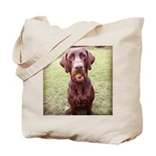 Chocolate Lab  With Ball Tote Bag