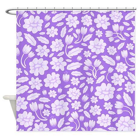 purple flowers shower curtain by ornaartzi