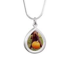 Halloween Chocolate Lab Silver Teardrop Necklace
