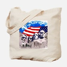 Mount Rushmore with American Flag Tote Bag