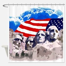 Mount Rushmore with American Flag Shower Curtain