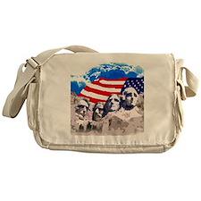Mount Rushmore with American Flag Messenger Bag