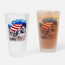Mount Rushmore with American Flag Drinking Glass