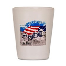 Mount Rushmore with American Flag Shot Glass