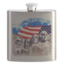 Mount Rushmore with American Flag Flask