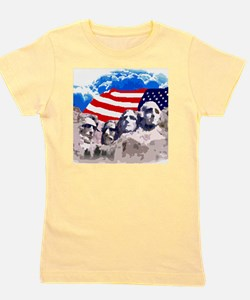 Mount Rushmore with American Flag Girl's Tee