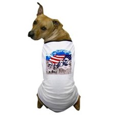 Mount Rushmore with American Flag Dog T-Shirt