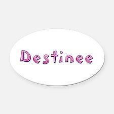 Destinee Pink Giraffe Oval Car Magnet