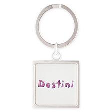 Destini Pink Giraffe Square Keychain