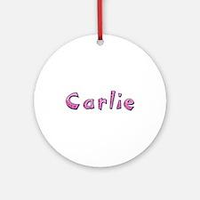 Carlie Pink Giraffe Round Ornament