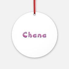 Chana Pink Giraffe Round Ornament