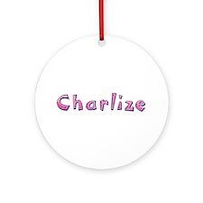 Charlize Pink Giraffe Round Ornament
