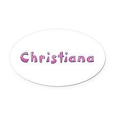 Christiana Pink Giraffe Oval Car Magnet